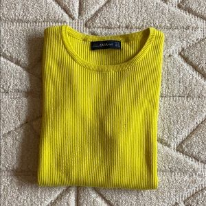 Zara Neon Yellow Knit Crewneck Ribbed Top Size S